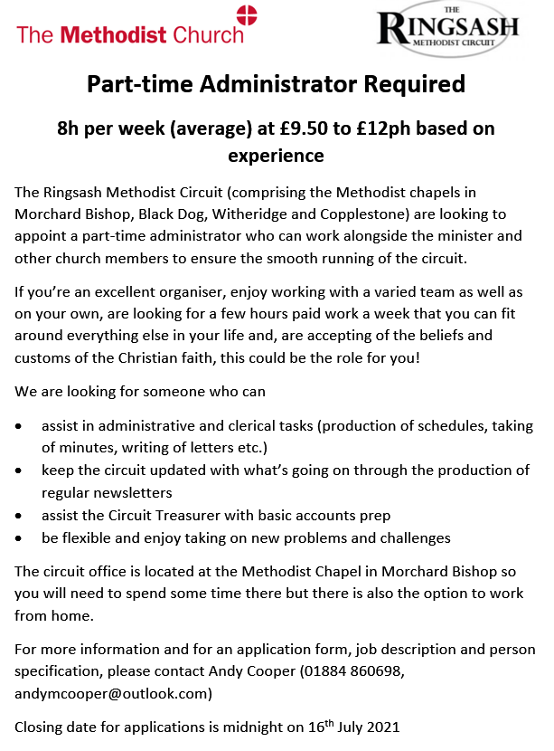 Advert for a new circuit administrator - closing date 16th July